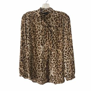 J.Crew Cheetah Print Button Blouse Med
